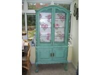 Stunning French Shabby Chic Armoire Glass Cabinet Cupboard Wardrobe