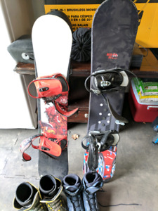Youth snowboards, boots and helmets
