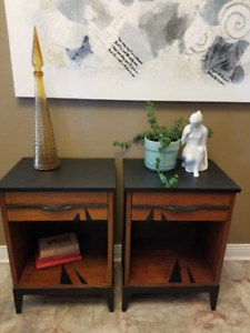 PR OF MID CENTURY MODERN BEDSIDE TABLES, NIGHT STANDS, UPCYCLED
