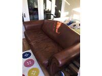 Large leather Laura Ashley sofa