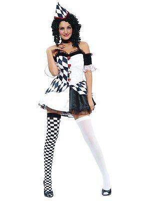 ieval Harlequin Jester Joker Clown New Fancy Dress Costume (Jester Fancy Dress Halloween)