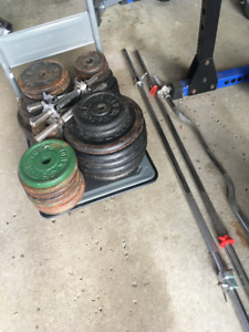 OLD SCHOOL gym set - York barbell dumbbells and plates