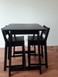 Black Wooden Table and Bar Stools (Ikea) for sale