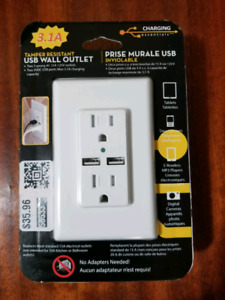 USB Wall Outlet with Screwless Plate