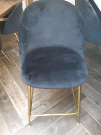 PRISTINE VELVET BLACK Bar stools WITH BLACK LEGS.