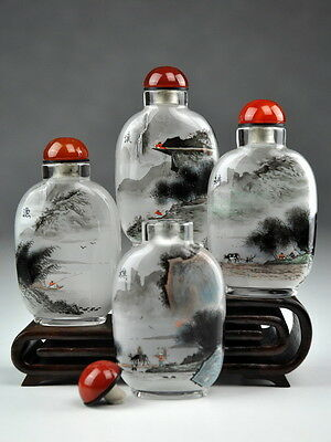 """Snuff Bottle Komposition """"Vier Seen"""", chinesische Schnupftabakflaschen"""