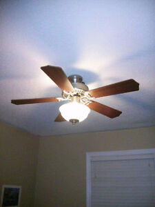 Ceiling fan with a remote control.