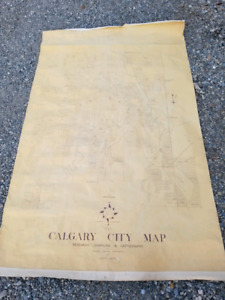 Vintage antique 1950's surveyors map of Calgary