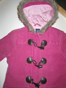 Gap Pink toggle coat with faux fur lined hood, fall weight sz M Belleville Belleville Area image 2