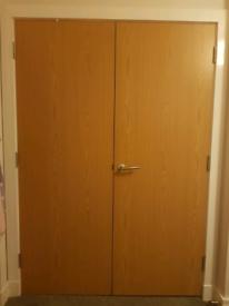 oak finish fire wardrobe double door