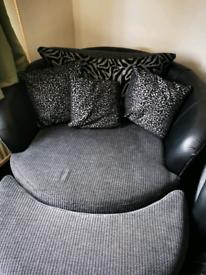 Gray swivel cuddle chair