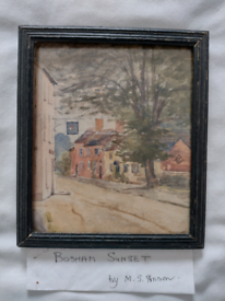 Small Vintage Watercolour of a Village Street Scene. Can be viewed!!