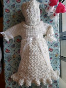 Baby Christening Dress, Bonnet & Booties
