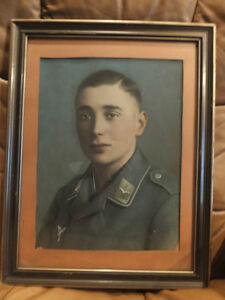 Color Photo of German Luftwaffe Soldier in original Frame behind London Ontario image 1