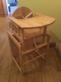 John Lewis wooden high chair (East Coast). Converts to table and chair.
