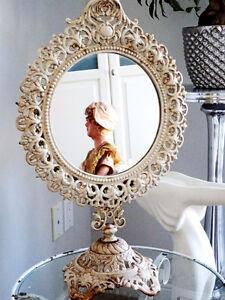 "Victorian CAST IRON vanity mirror SHABBY GIRLIE CHIC swivels 18"""