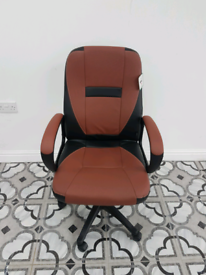 Swivel Office Desk Chair MO19 Brown PU Leather