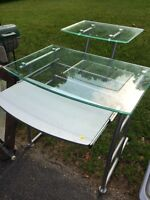 Glass Desk with slide out