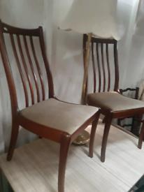 Vintage retro teak wooden mid century kitchen dining chairs x 4 velvet