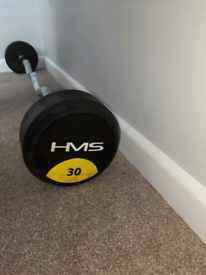 HMS EZ Curved Grip Rubber Barbell 30kg RRP £200