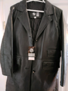 3/4 length Versace leather coat.
