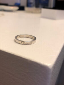 """Tiffany and Co. """"I Love You"""" Sterling Silver Ring."""
