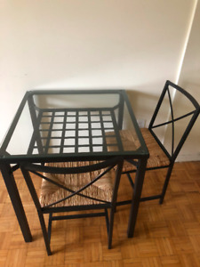 IKEA: GRANÅS Table and 2 chairs, black, glass