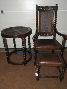 Antique set Jacobean style barley twist chair,stool,round table