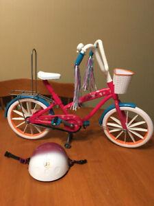 "18"" doll journey girls bike with helmet"