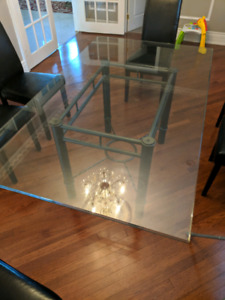 Glass on metal dinning table