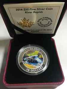 Royal Canadian Mint Pure Silver coin - Canadian rapids 2014
