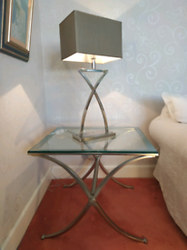 Stylish chrome side / lamp tables