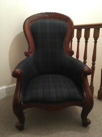 Tartan and wood single seater armchair