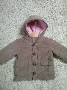 Brown and Pink Corduroy Winter Coat