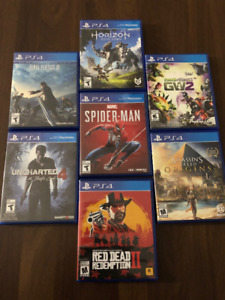 Jeux PS4 Red Dead Redemption II Final Fantasy XV Uncharted 4 etc