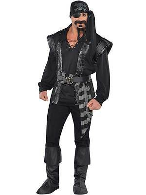 Adult Mens Dark Sea Scoundrel Black Beard Pirate Costume Fancy Dress - Pirat Blackbeard Kostüm