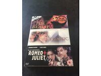 The beach, Titanic and Romeo and Juliet DVD