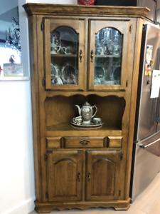 Bass River Solid Birch China corner cabinet for sale