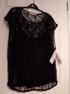 PETER NYGARD 2pce Lace & Satin Tunic Top NWT BLACK - Size 12