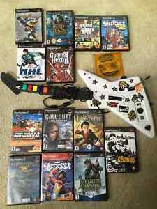 PS2 +controller+guitar+memory card+cables