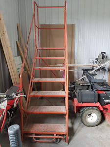 portable metal industrial stairs rolling ladder 7 steps