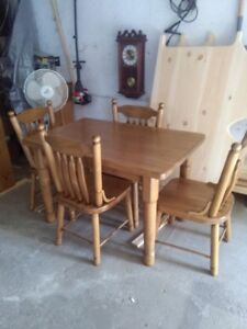 harvest table 4 chairs china cabinet etc