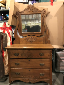 A  Nice Solid Oak Dresser  and Mirror