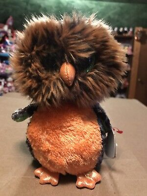 "Ty MIDNIGHT -Grey/Orange Fuzzy Halloween Owl 6"" Beanie Boo *Retired* RARE & VHTF](Beanie Baby Halloween Owl)"