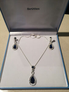 Brand new Sterling Silver Blue Cubic Zirconia set