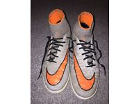 Nike HypervenomX Size 7.5 Proximo IC - Wolf Grey/ Total Orange- Black