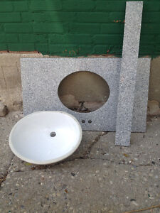 Granite Countertop with White Porcelain Sink