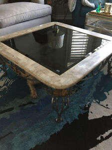 Glass and marble coffee table with matching end table Belleville Belleville Area image 1