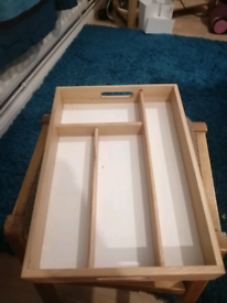 For sale a pine white tray for knifes spoons forks bits not hardly u