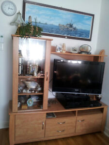 Moving Sale: Good quality Wood TV Entertainment with 2 Tables!